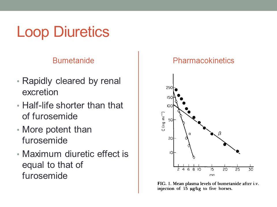 Loop Diuretics Bumetanide Rapidly cleared by renal excretion Half-life shorter than that of furosemide More potent than furosemide Maximum diuretic effect is equal to that of furosemide Pharmacokinetics