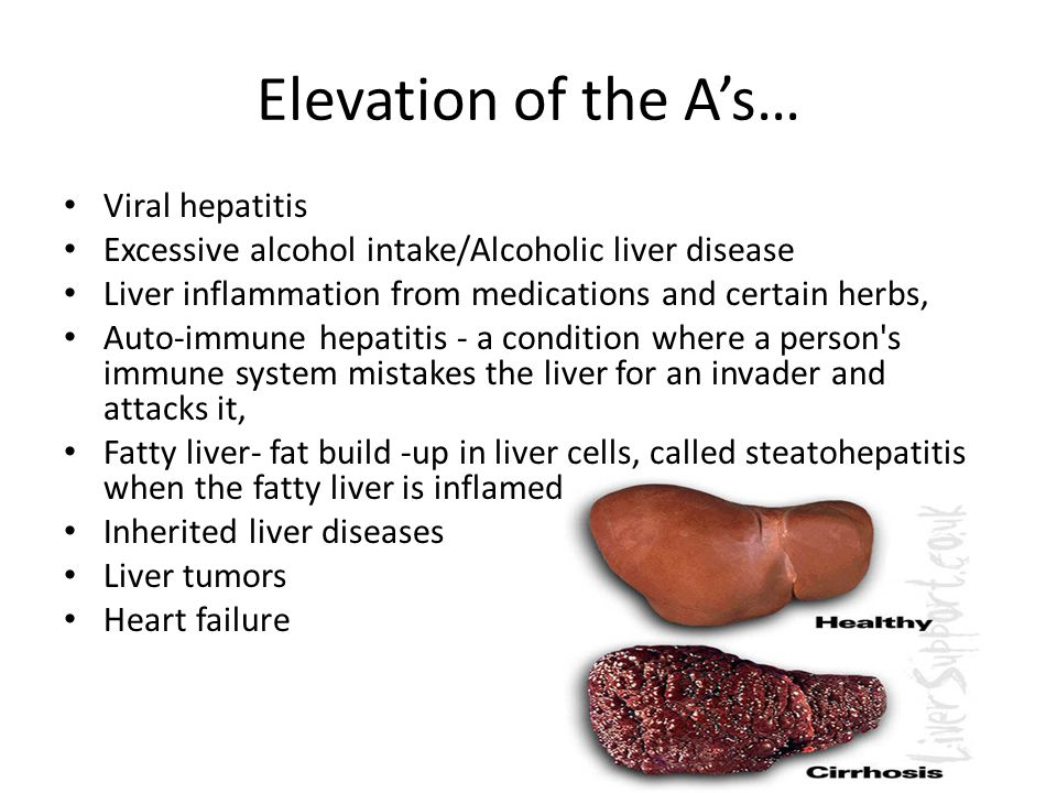 Elevation of the A's… Viral hepatitis Excessive alcohol intake/Alcoholic liver disease Liver inflammation from medications and certain herbs, Auto-immune hepatitis - a condition where a person s immune system mistakes the liver for an invader and attacks it, Fatty liver- fat build -up in liver cells, called steatohepatitis when the fatty liver is inflamed Inherited liver diseases Liver tumors Heart failure