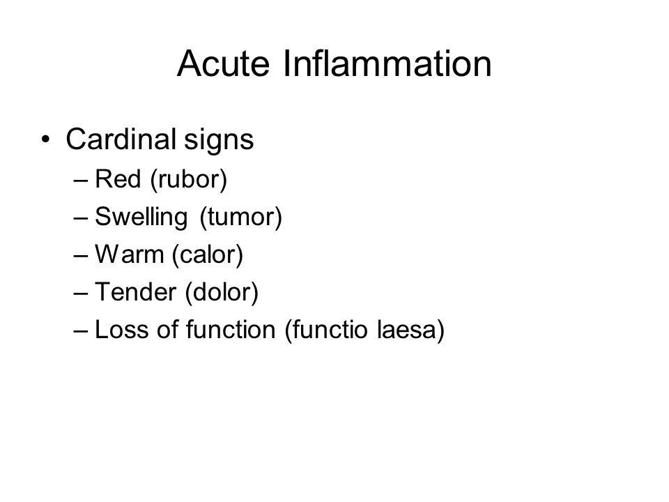 Acute Inflammation Cardinal signs –Red (rubor) –Swelling (tumor) –Warm (calor) –Tender (dolor) –Loss of function (functio laesa)