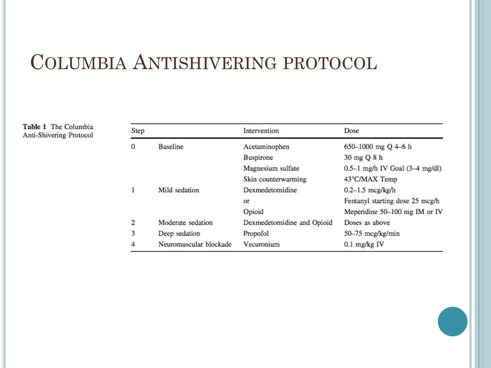 C OLUMBIA A NTISHIVERING PROTOCOL