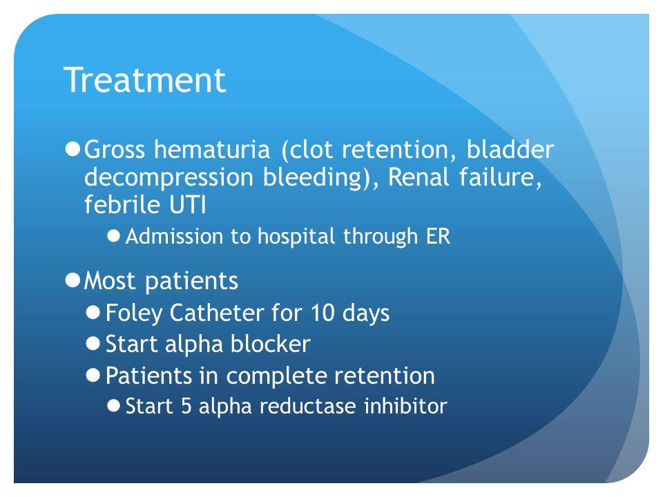 Treatment Gross hematuria (clot retention, bladder decompression bleeding), Renal failure, febrile UTI Admission to hospital through ER Most patients