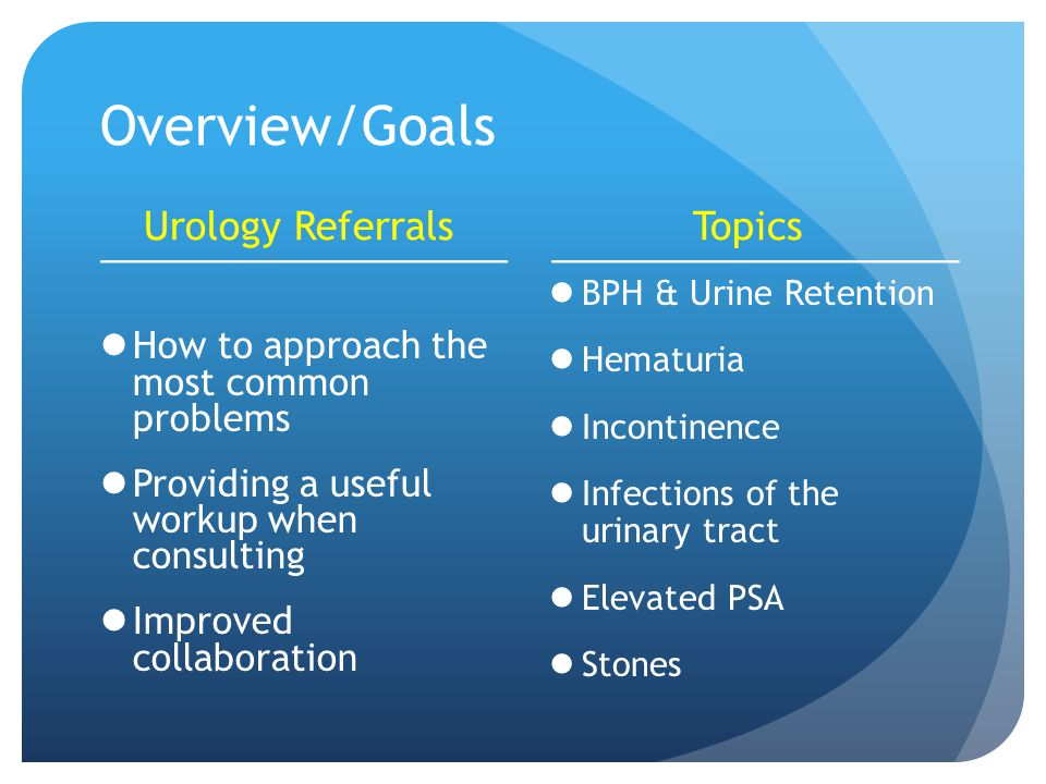 Overview/Goals Urology Referrals How to approach the most common problems Providing a useful workup when consulting Improved collaboration Topics BPH