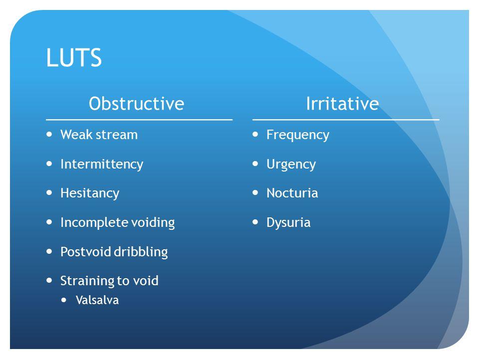 LUTS Obstructive Weak stream Intermittency Hesitancy Incomplete voiding Postvoid dribbling Straining to void Valsalva Irritative Frequency Urgency Noc