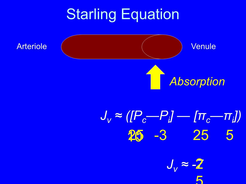 Starling Equation J v ≈ ([P c —P i ] — [π c —π i ]) 25 25-35 ArterioleVenule J v ≈ -7 Absorption 25102510 10