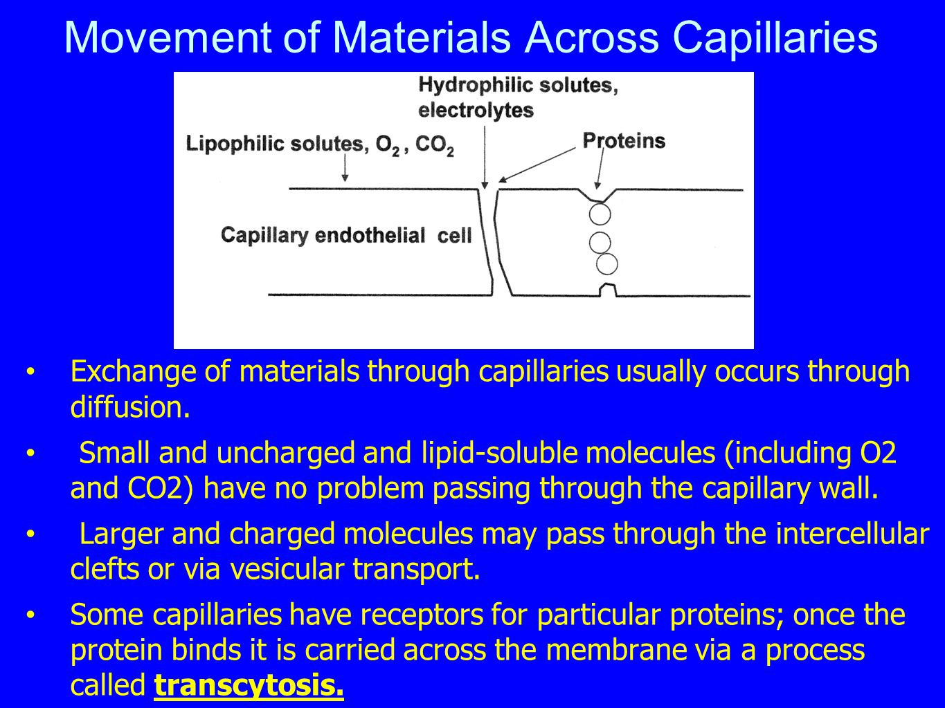 Movement of Materials Across Capillaries Exchange of materials through capillaries usually occurs through diffusion. Small and uncharged and lipid-sol