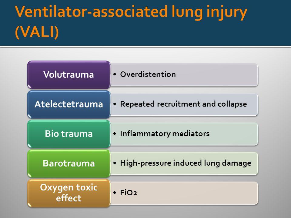 Overdistention Volutrauma Repeated recruitment and collapse Atelectetrauma Inflammatory mediators Bio trauma High-pressure induced lung damage Barotrauma FiO2 Oxygen toxic effect