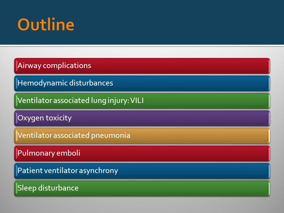 Airway complicationsHemodynamic disturbancesVentilator associated lung injury: VILIOxygen toxicityVentilator associated pneumoniaPulmonary emboliPatient ventilator asynchronySleep disturbance