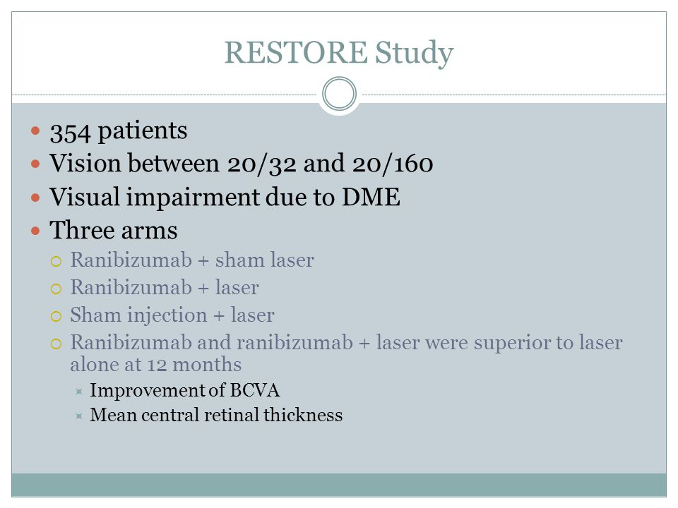RESTORE Study 354 patients Vision between 20/32 and 20/160 Visual impairment due to DME Three arms  Ranibizumab + sham laser  Ranibizumab + laser  Sham injection + laser  Ranibizumab and ranibizumab + laser were superior to laser alone at 12 months  Improvement of BCVA  Mean central retinal thickness
