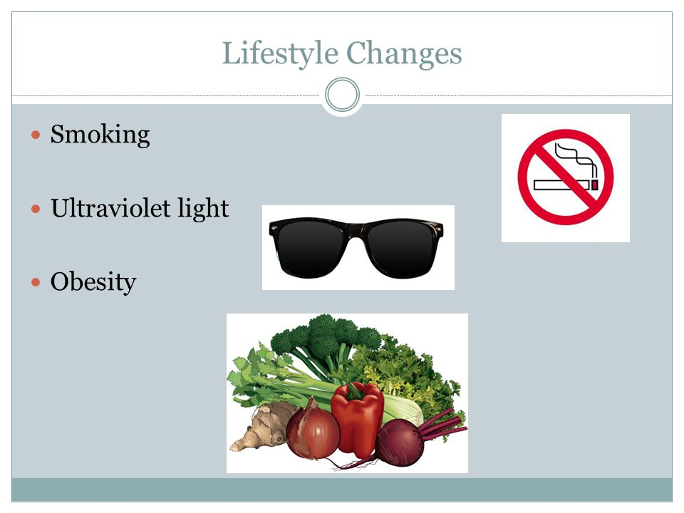 Lifestyle Changes Smoking Ultraviolet light Obesity