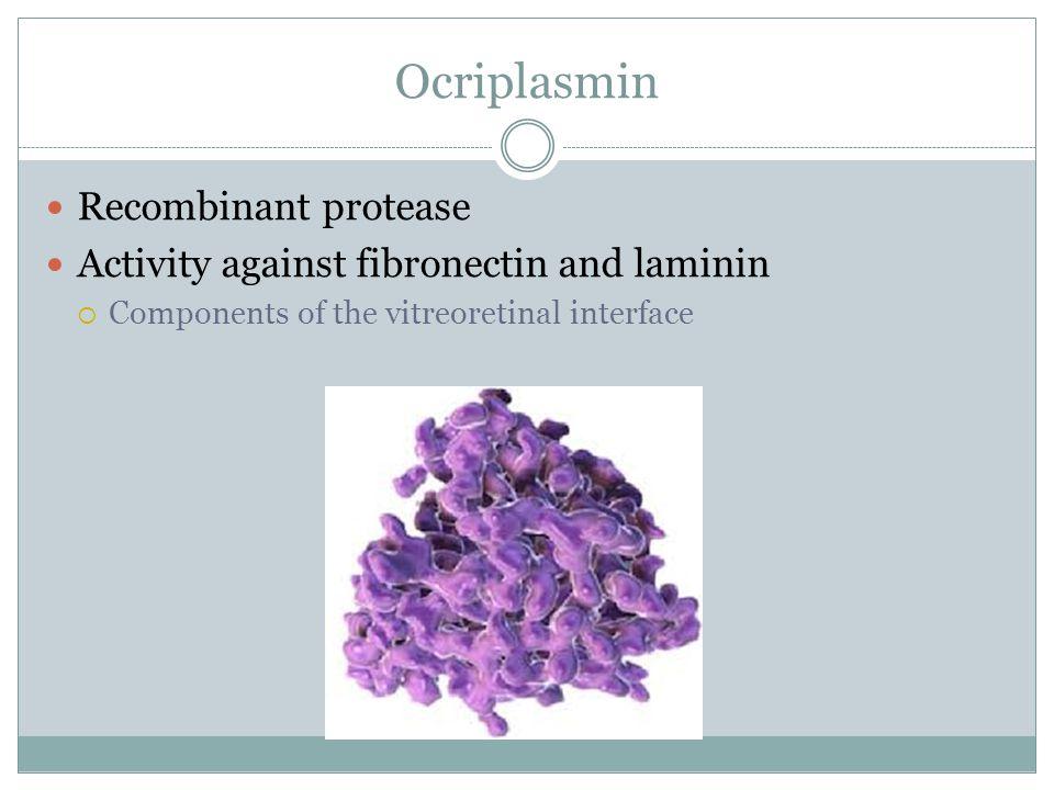 Ocriplasmin Recombinant protease Activity against fibronectin and laminin  Components of the vitreoretinal interface