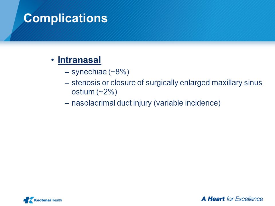 Complications Intranasal –synechiae (~8%) –stenosis or closure of surgically enlarged maxillary sinus ostium (~2%) –nasolacrimal duct injury (variable incidence)