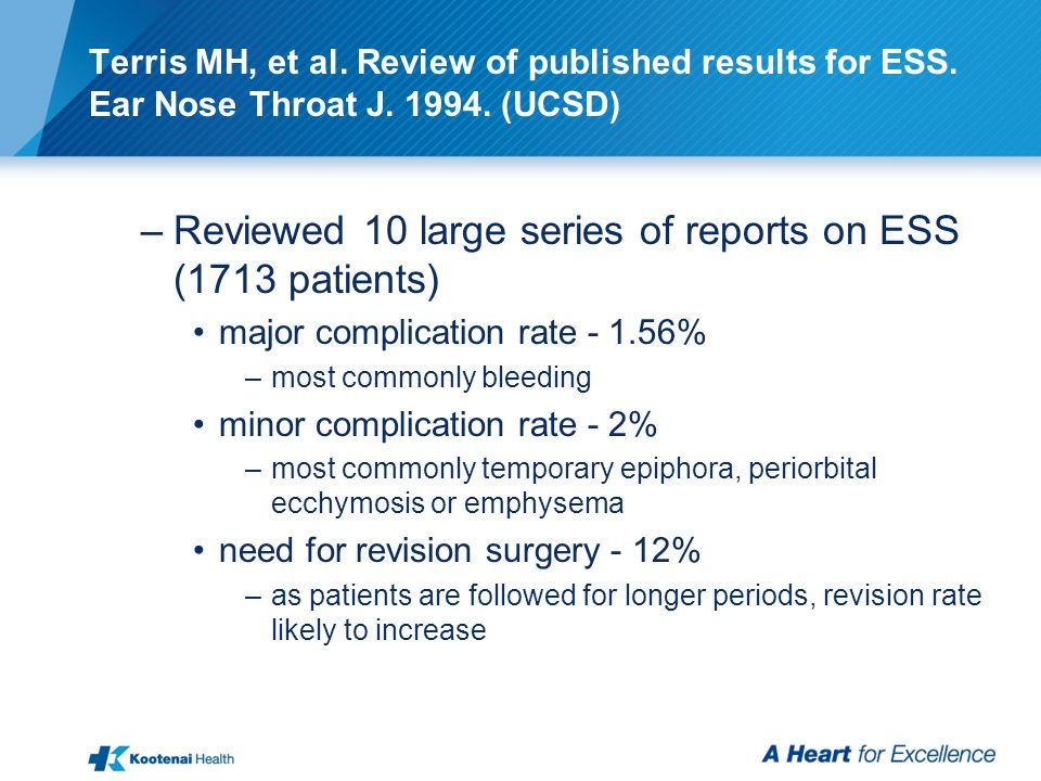 Terris MH, et al. Review of published results for ESS.