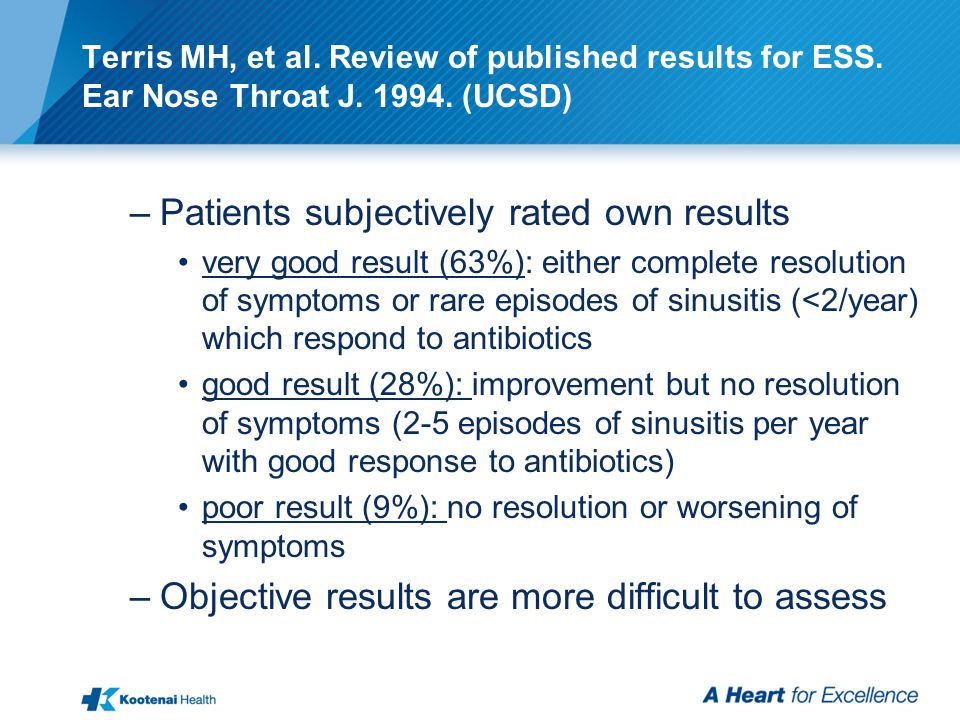 Terris MH, et al.Review of published results for ESS.