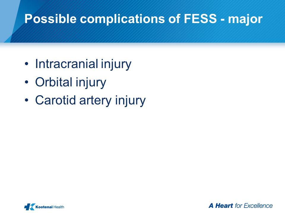 Possible complications of FESS - major Intracranial injury Orbital injury Carotid artery injury
