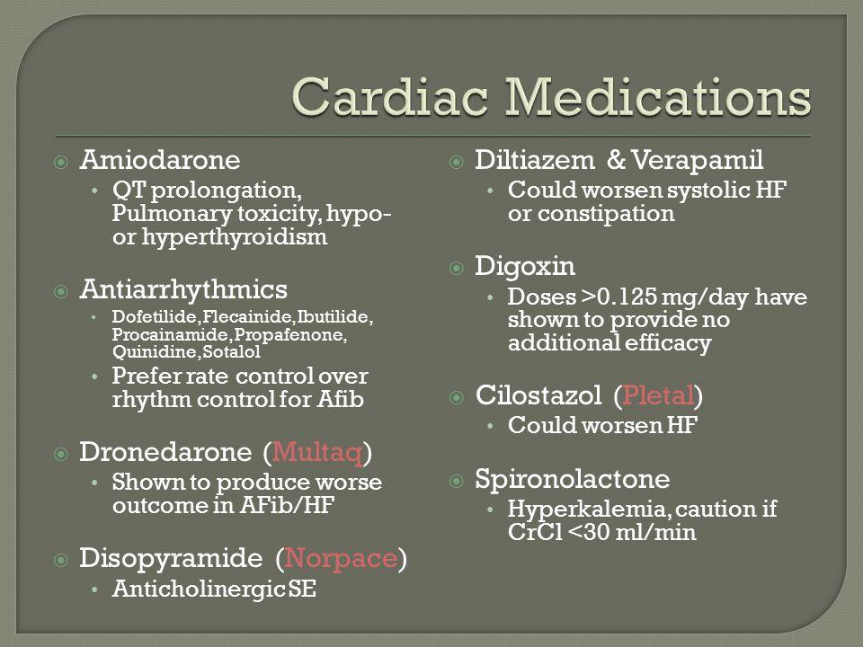  Amiodarone QT prolongation, Pulmonary toxicity, hypo- or hyperthyroidism  Antiarrhythmics Dofetilide, Flecainide, Ibutilide, Procainamide, Propafen