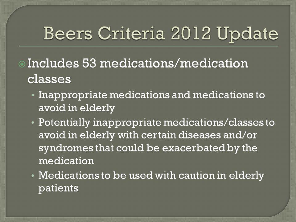  Includes 53 medications/medication classes Inappropriate medications and medications to avoid in elderly Potentially inappropriate medications/class
