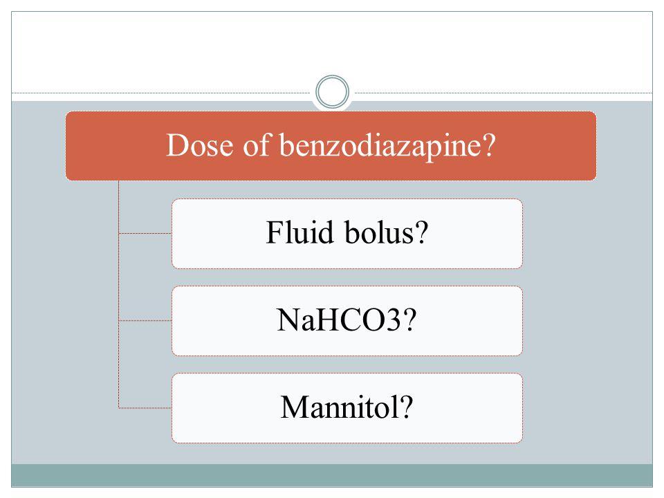 Dose of benzodiazapine Fluid bolus NaHCO3 Mannitol