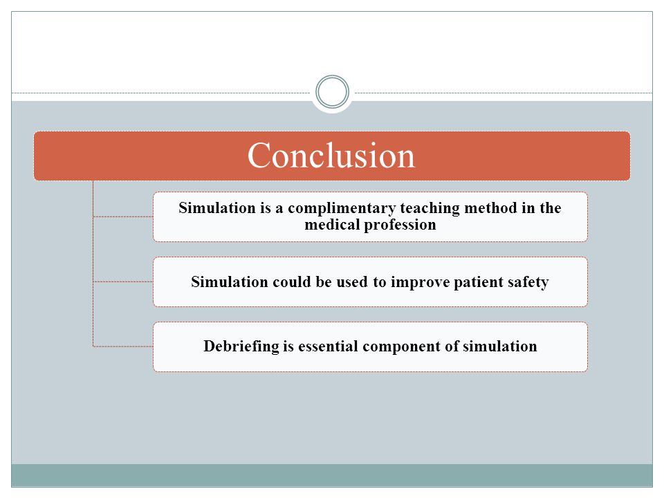 Conclusion Simulation is a complimentary teaching method in the medical profession Simulation could be used to improve patient safetyDebriefing is essential component of simulation