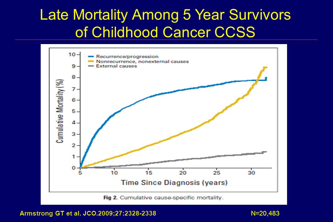Armstrong GT et al. JCO.2009;27:2328-2338 Late Mortality Among 5 Year Survivors of Childhood Cancer CCSS N=20,483