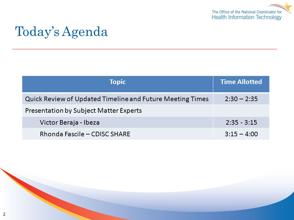 Today's Agenda TopicTime Allotted Quick Review of Updated Timeline and Future Meeting Times 2:30 – 2:35 Presentation by Subject Matter Experts Victor