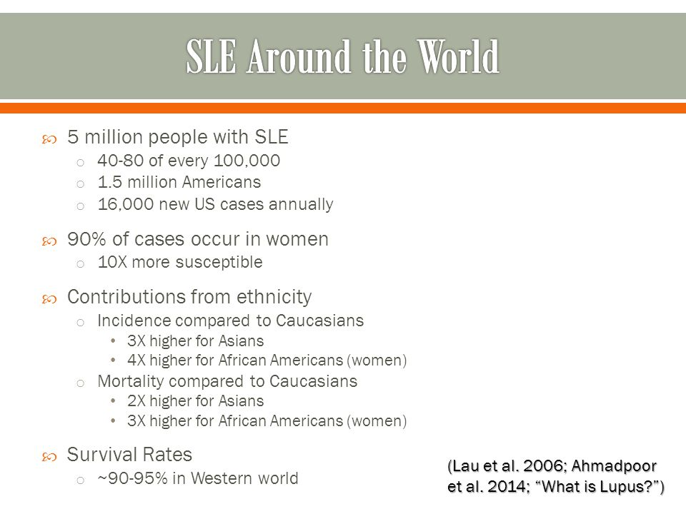  5 million people with SLE o 40-80 of every 100,000 o 1.5 million Americans o 16,000 new US cases annually  90% of cases occur in women o 10X more s