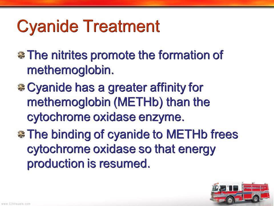 Cyanide Treatment The nitrites promote the formation of methemoglobin. Cyanide has a greater affinity for methemoglobin (METHb) than the cytochrome ox