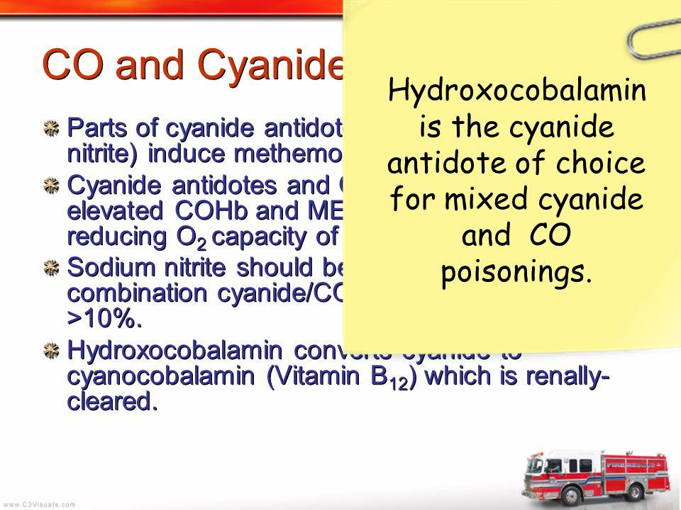 CO and Cyanide Poisoning Parts of cyanide antidote kit (amyl nitrite, sodium nitrite) induce methemogloninemia. Cyanide antidotes and CO poisoning can