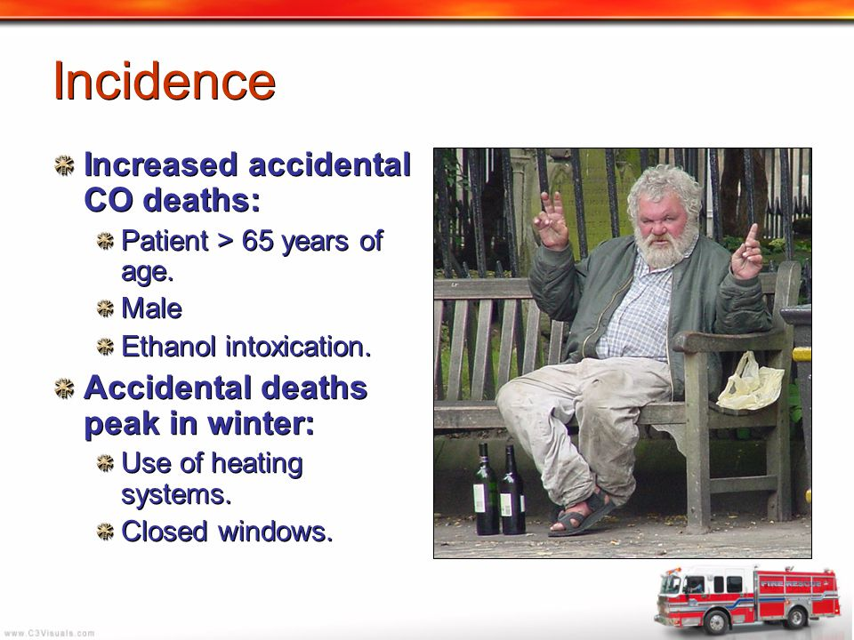 Incidence Increased accidental CO deaths: Patient > 65 years of age. Male Ethanol intoxication. Accidental deaths peak in winter: Use of heating syste