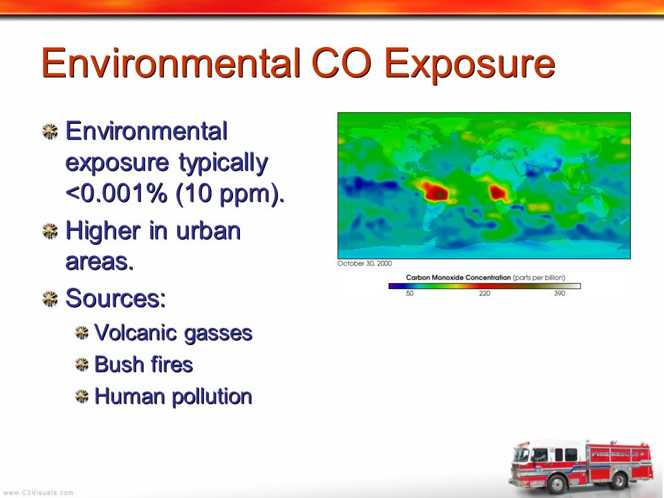 Environmental CO Exposure Environmental exposure typically <0.001% (10 ppm). Higher in urban areas. Sources: Volcanic gasses Bush fires Human pollutio