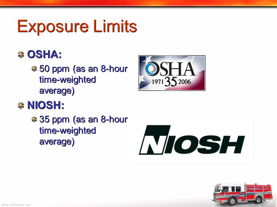 Exposure Limits OSHA: 50 ppm (as an 8-hour time-weighted average) NIOSH: 35 ppm (as an 8-hour time-weighted average) OSHA: 50 ppm (as an 8-hour time-w