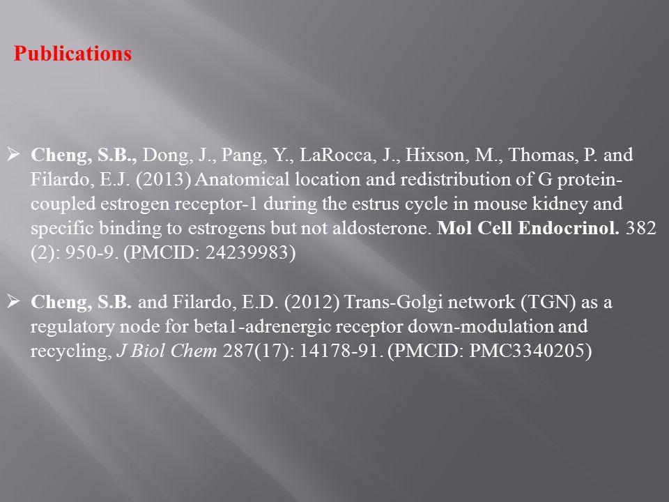 Publications  Cheng, S.B., Dong, J., Pang, Y., LaRocca, J., Hixson, M., Thomas, P. and Filardo, E.J. (2013) Anatomical location and redistribution of