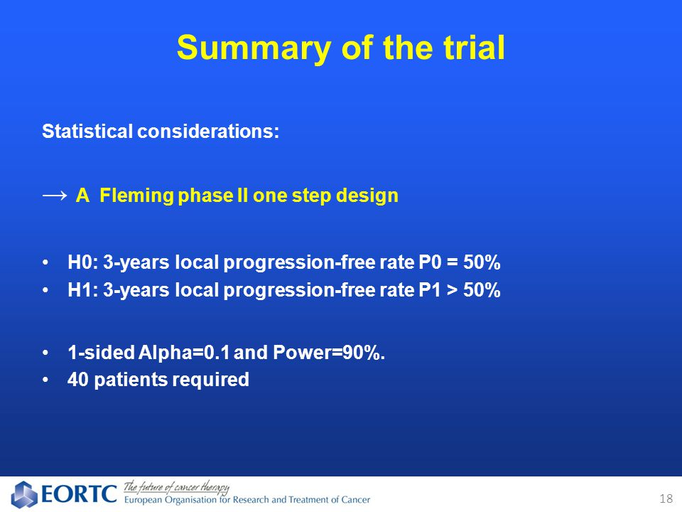 Statistical considerations: → A Fleming phase II one step design H0: 3-years local progression-free rate P0 = 50% H1: 3-years local progression-free rate P1 > 50% 1-sided Alpha=0.1 and Power=90%.