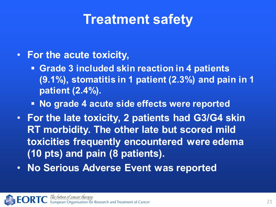 For the acute toxicity,  Grade 3 included skin reaction in 4 patients (9.1%), stomatitis in 1 patient (2.3%) and pain in 1 patient (2.4%).