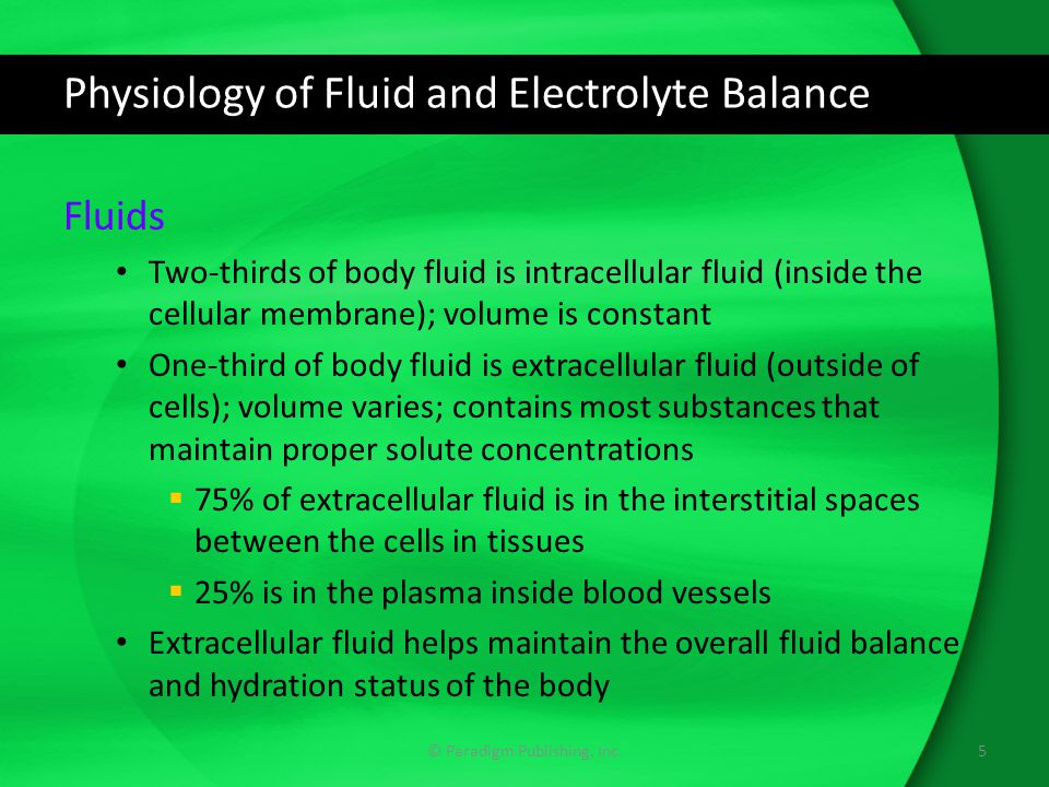 Physiology of Fluid and Electrolyte Balance © Paradigm Publishing, Inc.6 Body Fluid Compartments Extracellular fluid is made up of plasma and interstitial fluid Average quantities of water are given in liters (L) for each body compartment