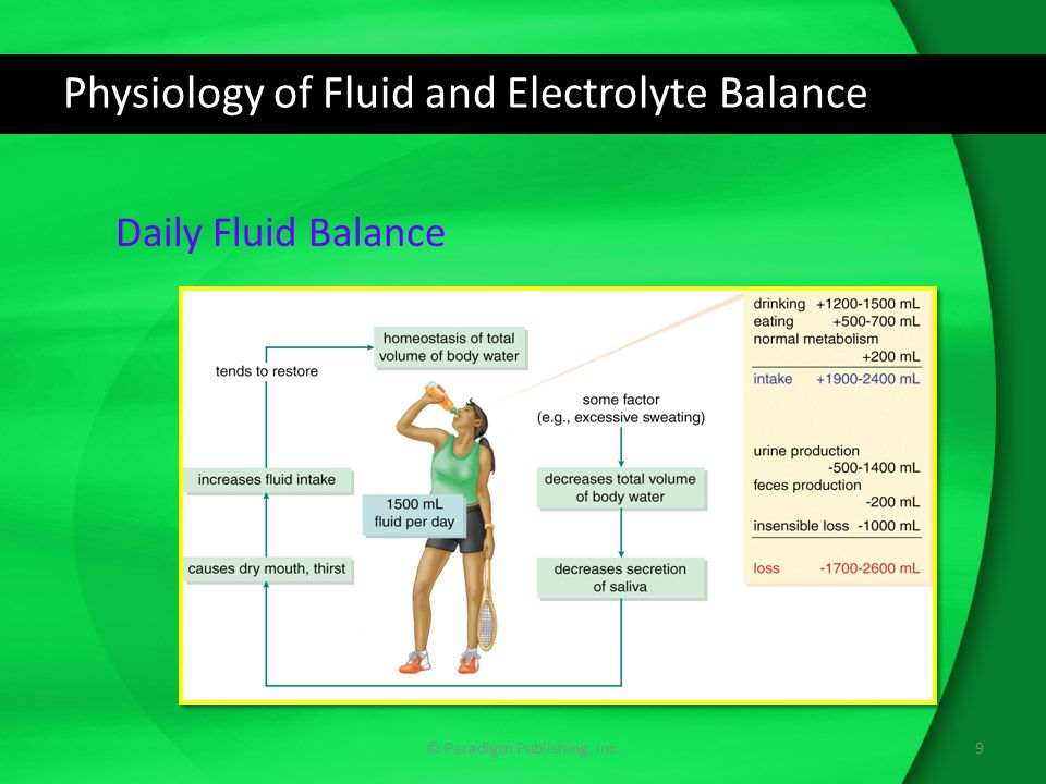 Physiology of Fluid and Electrolyte Balance Electrolytes Molecular compounds that form ions dissolved in water They are either positively charged ions (cations) or negatively charged ions (anions)  Cations: sodium, potassium, calcium, magnesium  Anions: chloride, bicarbonate, phosphate (at times) Concentration is measured in milliequivalents (mEq) per liter Concentrations of ions differ in intracellular and extracellular fluid 10© Paradigm Publishing, Inc.