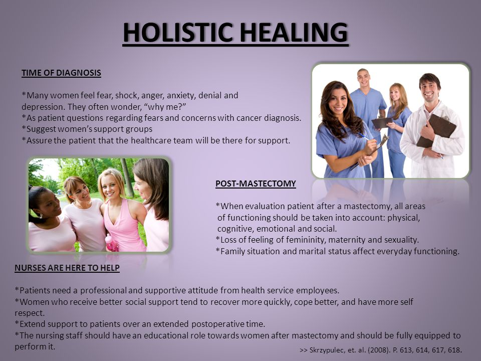 "HOLISTIC HEALINGHOLISTIC HEALING TIME OF DIAGNOSIS *Many women feel fear, shock, anger, anxiety, denial and depression. They often wonder, ""why me?"" *"