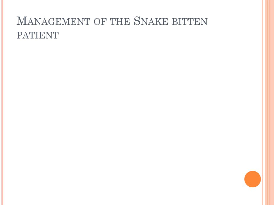 M ANAGEMENT OF THE S NAKE BITTEN PATIENT