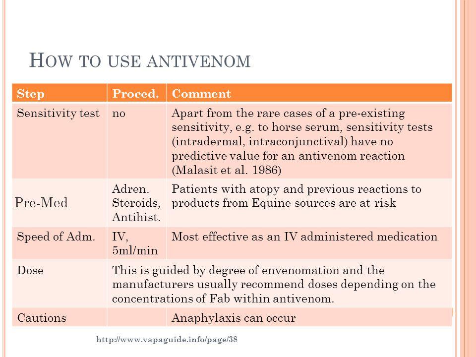 H OW TO USE ANTIVENOM StepProced.Comment Sensitivity testnoApart from the rare cases of a pre-existing sensitivity, e.g. to horse serum, sensitivity t