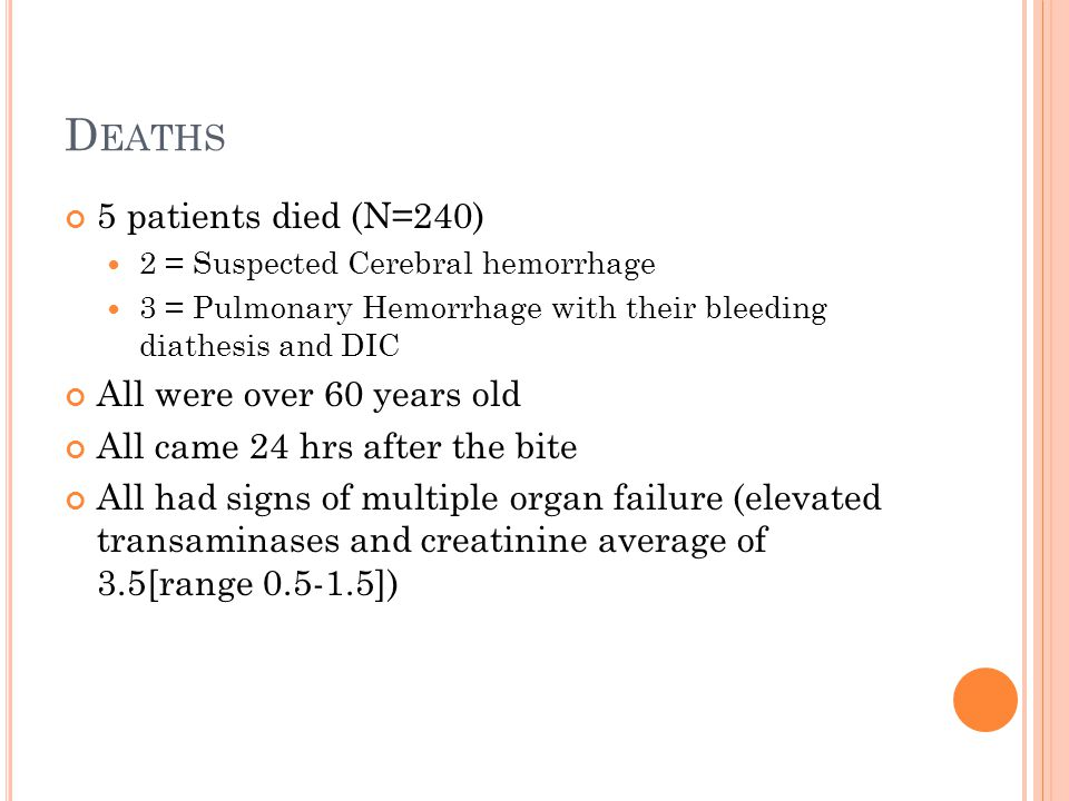 D EATHS 5 patients died (N=240) 2 = Suspected Cerebral hemorrhage 3 = Pulmonary Hemorrhage with their bleeding diathesis and DIC All were over 60 year