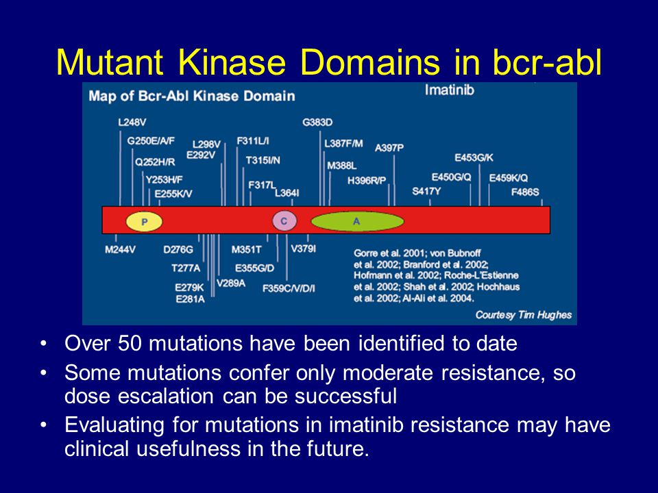 Mutant Kinase Domains in bcr-abl Over 50 mutations have been identified to date Some mutations confer only moderate resistance, so dose escalation can