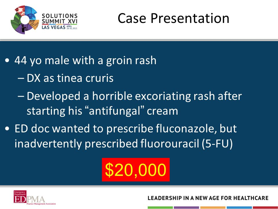 Case Presentation 44 yo male with a groin rash –DX as tinea cruris –Developed a horrible excoriating rash after starting his antifungal cream ED doc wanted to prescribe fluconazole, but inadvertently prescribed fluorouracil (5-FU) $20,000
