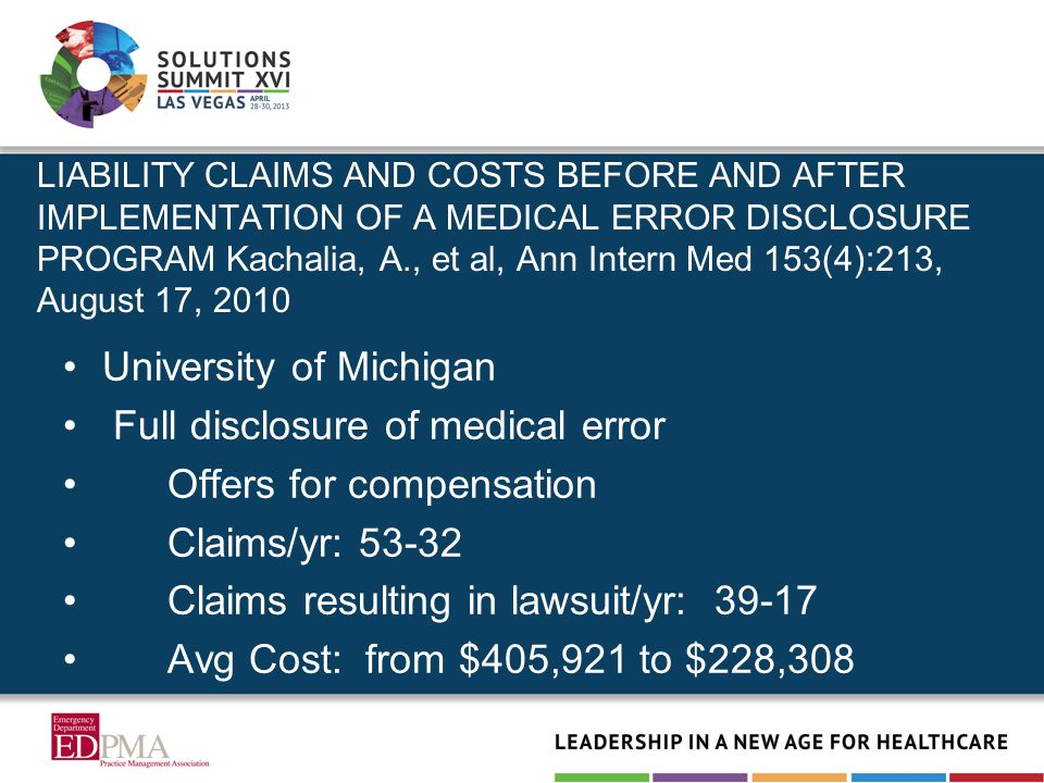 LIABILITY CLAIMS AND COSTS BEFORE AND AFTER IMPLEMENTATION OF A MEDICAL ERROR DISCLOSURE PROGRAM Kachalia, A., et al, Ann Intern Med 153(4):213, August 17, 2010 University of Michigan Full disclosure of medical error Offers for compensation Claims/yr: 53-32 Claims resulting in lawsuit/yr: 39-17 Avg Cost: from $405,921 to $228,308
