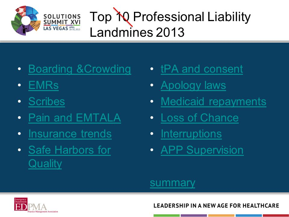 Top 10 Professional Liability Landmines 2013 Boarding &Crowding EMRs Scribes Pain and EMTALA Insurance trends Safe Harbors for QualitySafe Harbors for Quality tPA and consent Apology laws Medicaid repayments Loss of Chance Interruptions APP Supervision summary