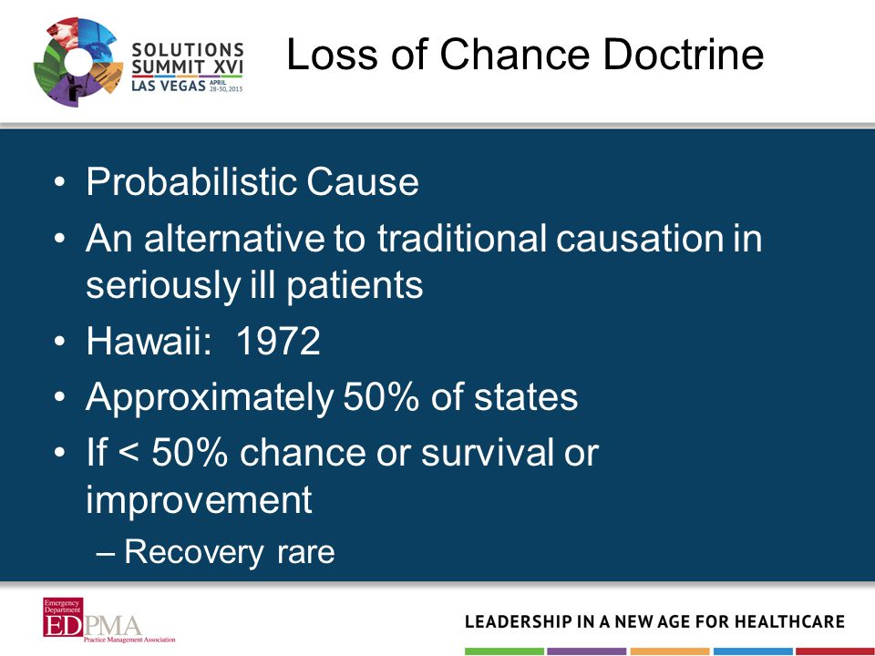 Loss of Chance Doctrine Probabilistic Cause An alternative to traditional causation in seriously ill patients Hawaii: 1972 Approximately 50% of states If < 50% chance or survival or improvement –Recovery rare