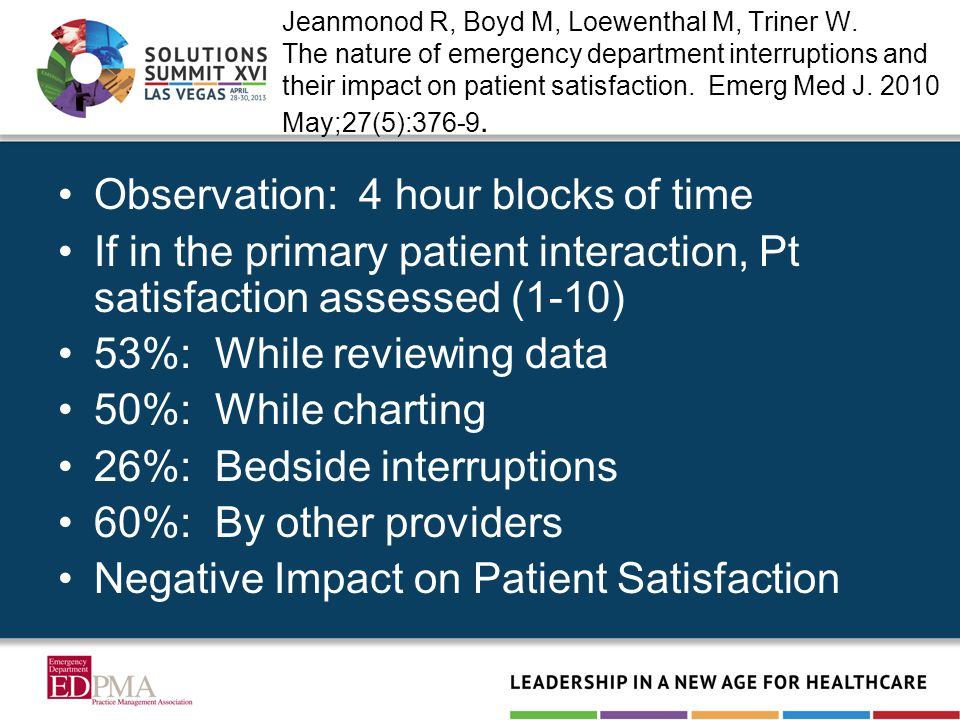 Jeanmonod R, Boyd M, Loewenthal M, Triner W. The nature of emergency department interruptions and their impact on patient satisfaction. Emerg Med J. 2
