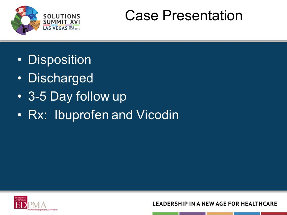 Case Presentation Disposition Discharged 3-5 Day follow up Rx: Ibuprofen and Vicodin