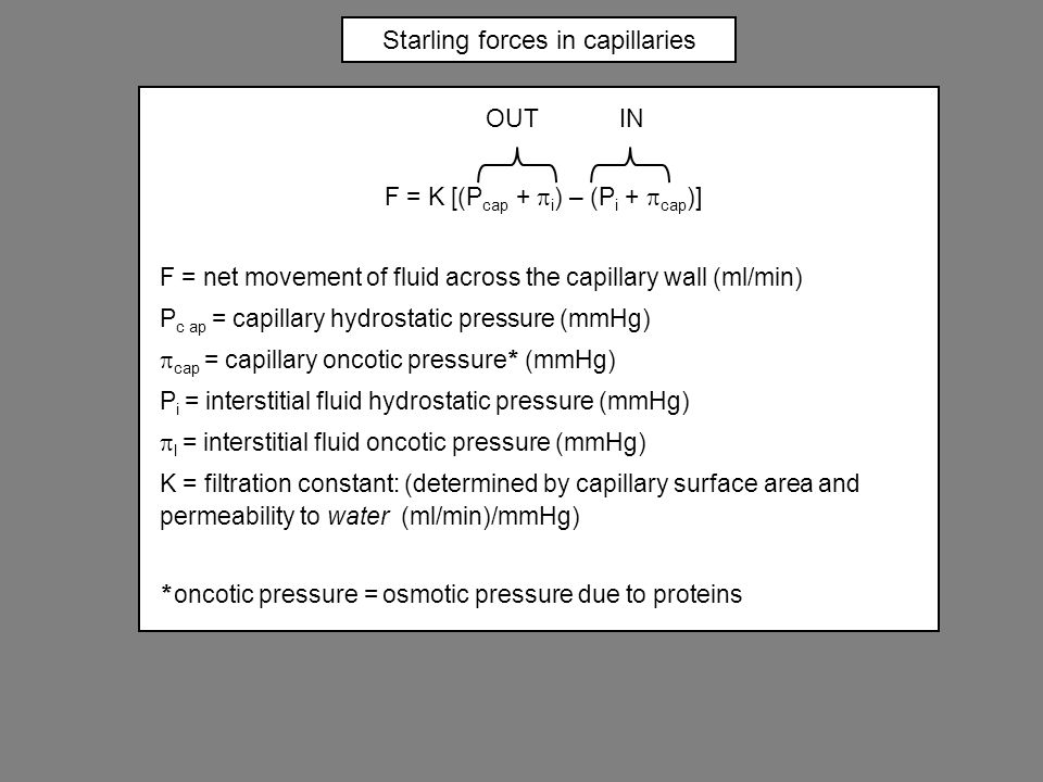 Starling forces in capillaries OUT IN F = K [(P cap +  i ) – (P i +  cap )] F = net movement of fluid across the capillary wall (ml/min) P c ap = capillary hydrostatic pressure (mmHg)  cap = capillary oncotic pressure * (mmHg) P i = interstitial fluid hydrostatic pressure (mmHg)  I = interstitial fluid oncotic pressure (mmHg) K = filtration constant: (determined by capillary surface area and permeability to water (ml/min)/mmHg) * oncotic pressure = osmotic pressure due to proteins