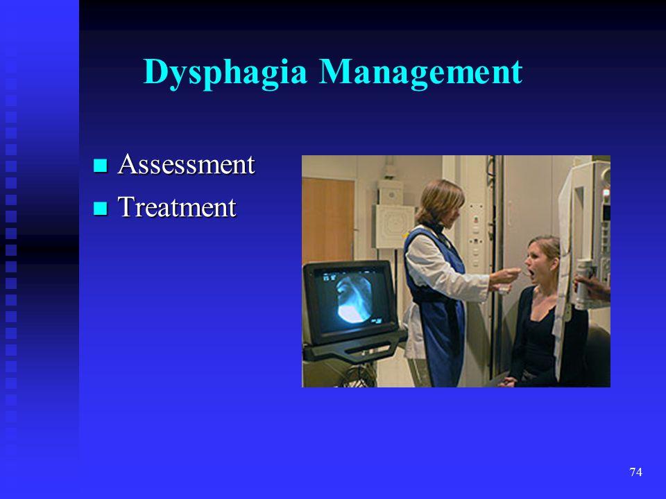 74 Dysphagia Management Assessment Assessment Treatment Treatment