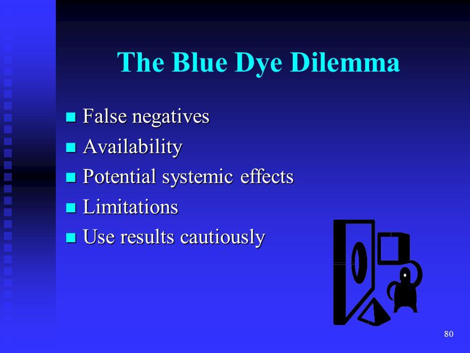 80 The Blue Dye Dilemma False negatives False negatives Availability Availability Potential systemic effects Potential systemic effects Limitations Limitations Use results cautiously Use results cautiously