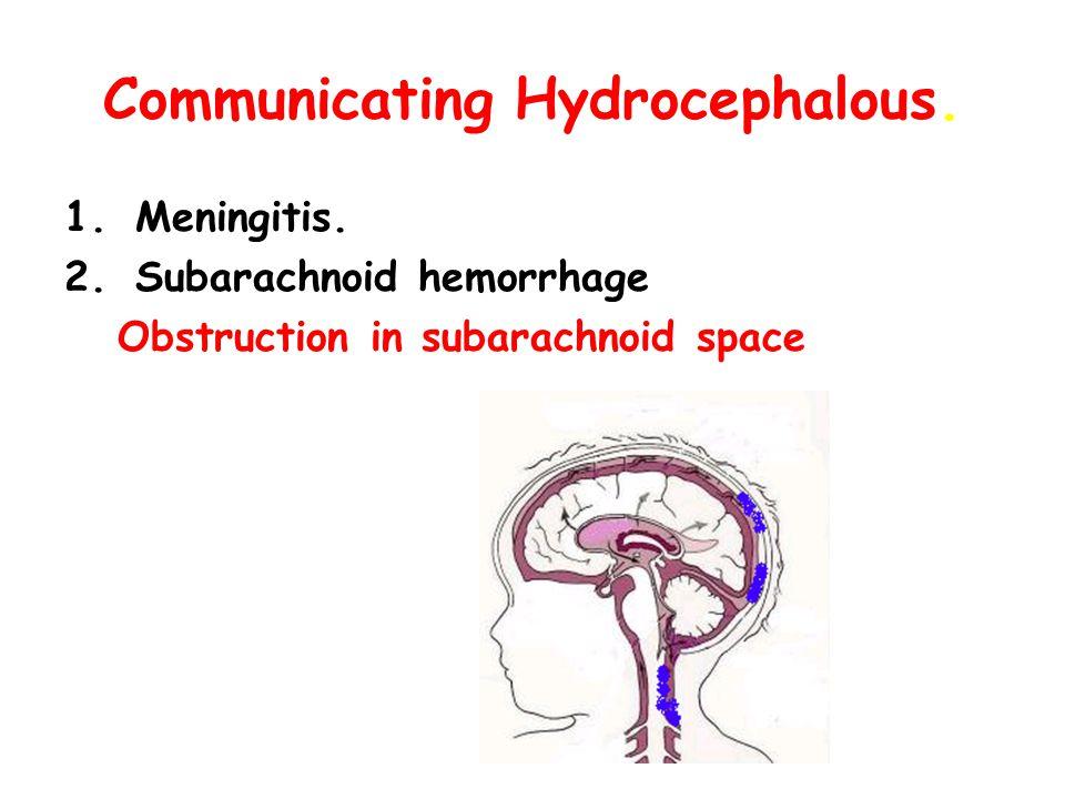 Communicating Hydrocephalous. 1.Meningitis. 2.Subarachnoid hemorrhage Obstruction in subarachnoid space